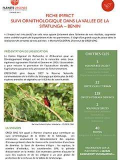 Suivi ornithologique dans la vallée de la Sitatunga - Bénin