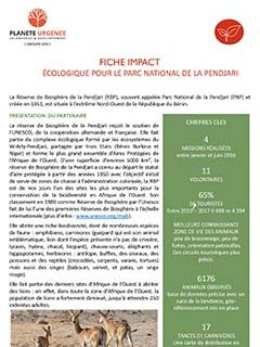 Fiche impact écologique pour le parc de la Pendjari au Bénin