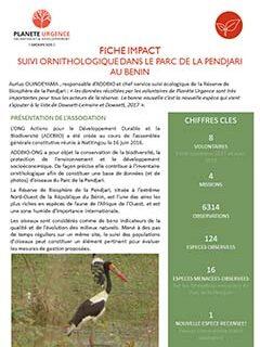 Suivi Ornithologique dans le parc de la Pendjari - Bénin